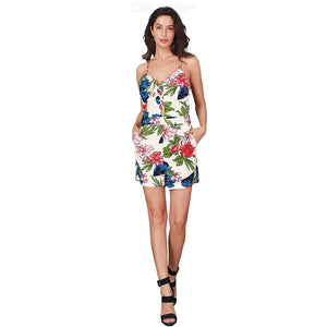Summer Floral Print Jumpsuits Sexy Backless Hollow Strap Bodysuits For Women