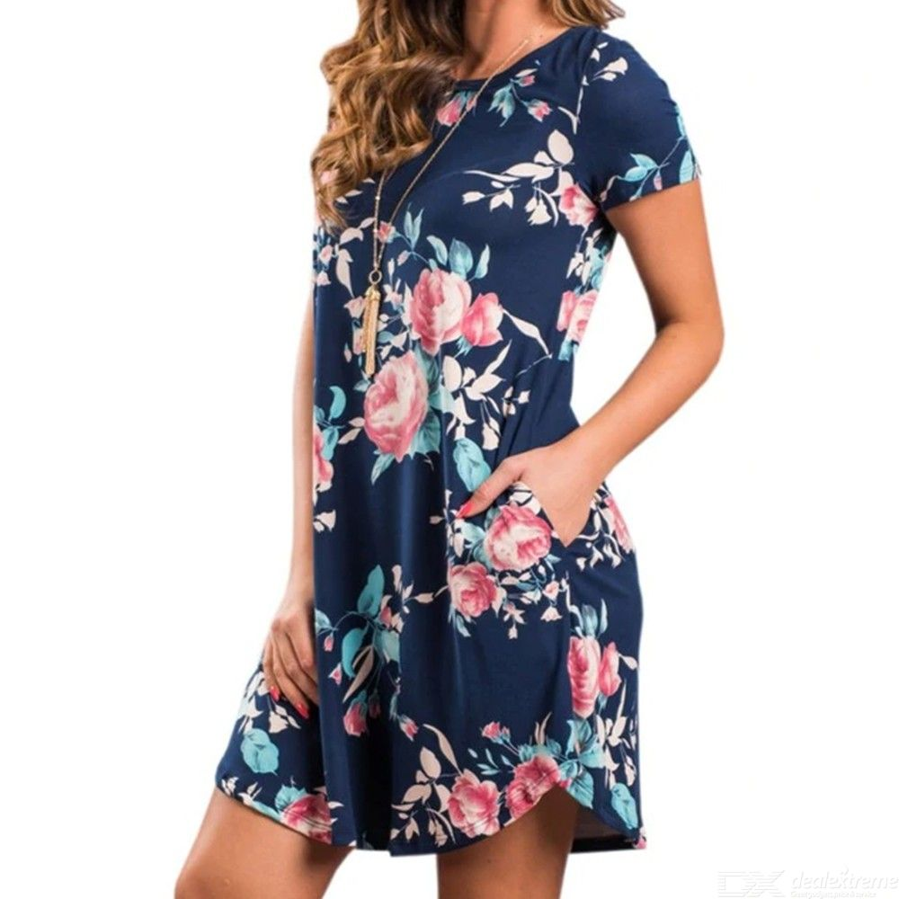 Summer O Neck Floral Print Mini Dresses Short Sleeve Sundress With Pockets For Women