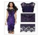 Hollow Slim Women Sexy Floral Lace Embroidered Party Dress, Embroidery One-Piece Dress For Lady Burgundy