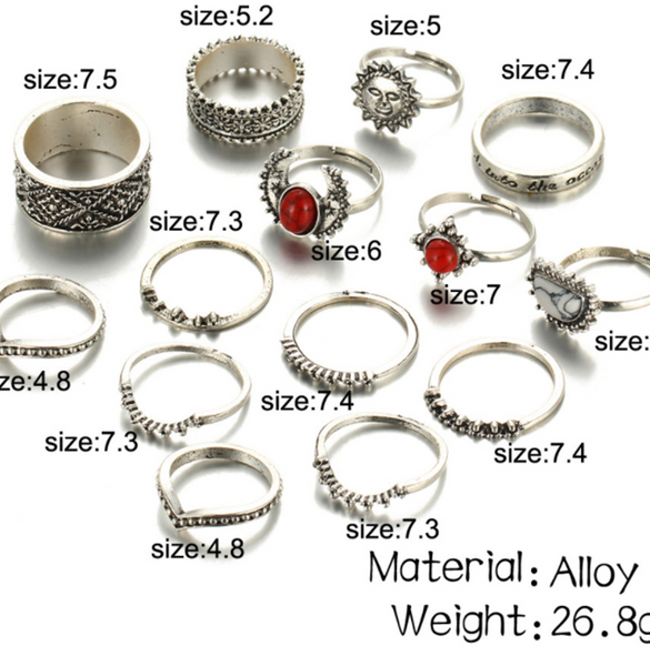 Carved Joint Ring Red White Turquoise 14 Pieces Set Ring Gem Crystal Ring Silver