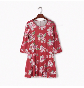 Fashion Floral Print Dress Sexy Loose Stylish Clothes Women's Clothing Burgundy