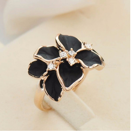 Top Quality Vintage Black White Color Camellia Ring Austrian Crystals Ring