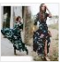 Autumn Retro Bohemia Dresses Floral Printed V-Neck Three Quarter Sleeve Dress For Women Navy Blue