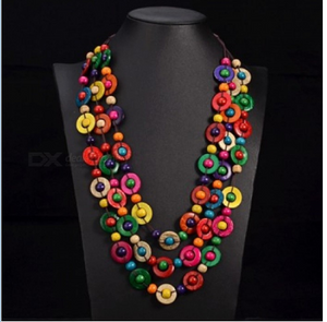 Bohemia Ethnic Necklace & Pendant Multi Layer Beads Jewelry Vintage Statement Long Necklace Women Handmade Wood Jewelry