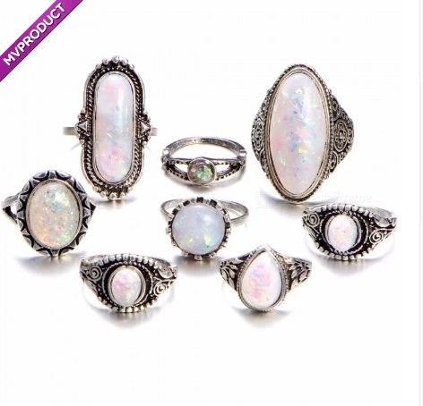 8Pcs/set Women's Sterling Silver Rings Set With Natural Gemstone Fire Opal Diamond Ring Retro Jewelry Set Silver