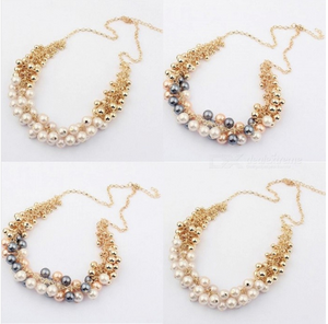 Big Temperament Popular Korea Retro Palace Beauty Simulated Pearl Necklace Women Choker Necklace White