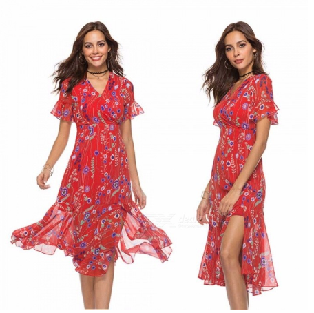 Bohemian Dress V-Neck Flare Sleeve High Waist Floral Print Ruffles Chiffon Dresses For Women