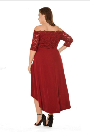 Slash Neck Lace Dress, Maxi Solid Off-the-shoulder Lace Dress With Asymmetric Hem