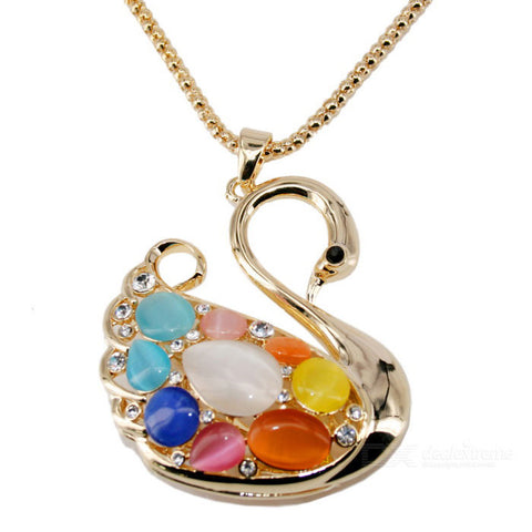 Unique Cygnet Style Gold Plating Necklace - Golden + Multi-Colored