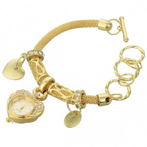 Unique Round Strap Heart Shape Dial Quartz Bracelet Watch