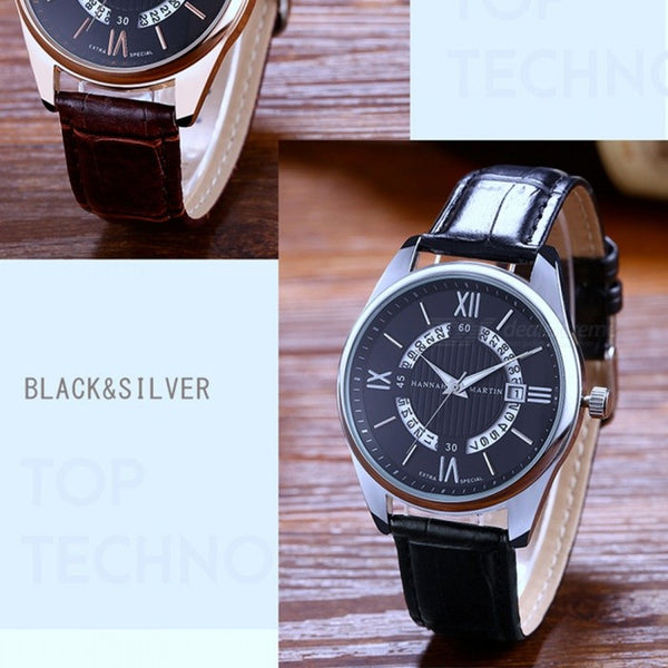 Hannah Martin KY14 Fashion Men's PU Leather Strap Quartz Watch Date Display 30M Waterproof Roman Numerals