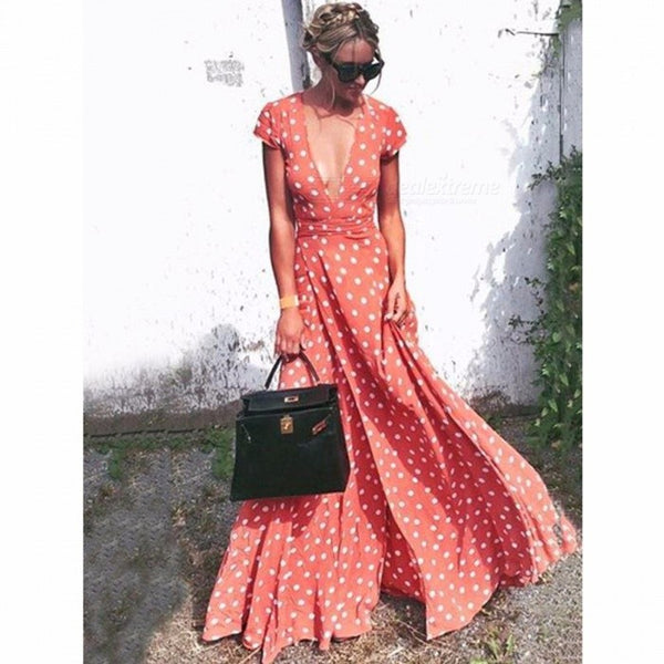 Stylish Polka Dot Pretty Bohemia Floral Print Deep V Neck Maxi Dress For Women
