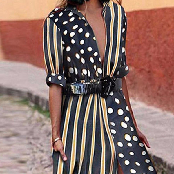 SYH012 Women Autumn Dresses Dot Striped Joint Lantern Sleeve Ankle-Length Dress High Waist Dress Multi/S