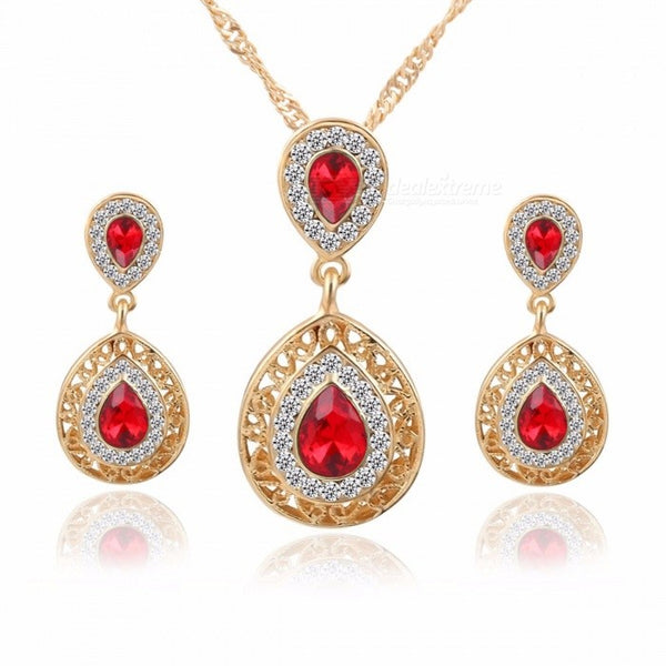 New Earrings Necklace Set Combination Crystal Earrings Drop Pendant Jewelry Three-piece Green