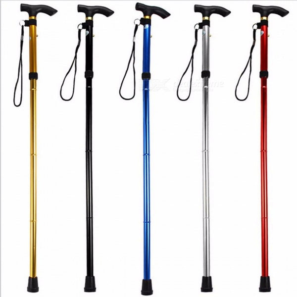 Adjustable Aluminum Alloy Metal Folding Cane Walking Sticks Adjustable Height Non Slip Rubber Base Walking Stick