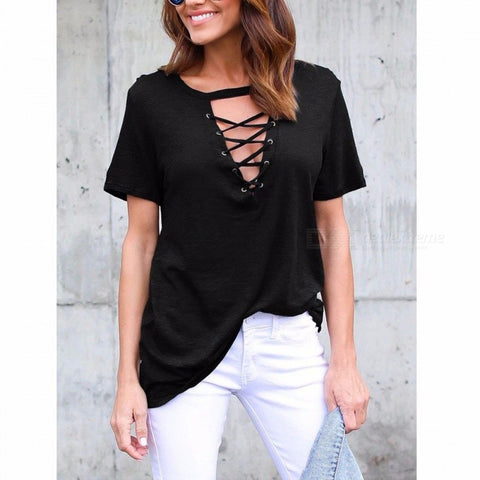 Summer Loose Women's Casual T-shirt Sexy V-neck Cross Straps Hollow Out Short-sleeve Shirt