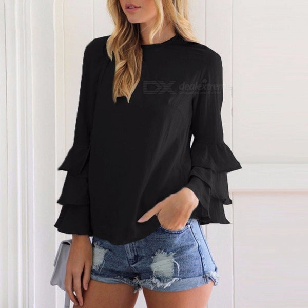 Casual Women's O-neck Long Flare Sleeve Ruffle Blouse Shirt Back Slit Pullover Top For Women - Black