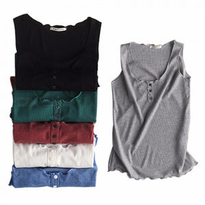 Summer New Slim Wooden Ear Sleeve Big Round Neck Vest, Hollow-Out Solid Color Tanks Tops Camis For Women Black/One Size