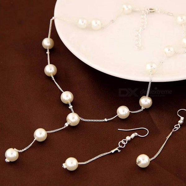 Stylish Pearls Decorated Necklace Pearl Dangle Earrings Bracelet Set Elegant Jewelry Suit For Women