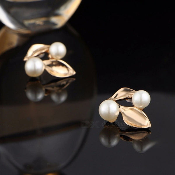 Elegant Rhinstones Decorated Leaves Pearl Necklace Stud Earrings Jewelry Sets For Women Gold