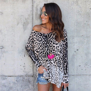 Spring Autumn New Fashion Women Lady Sexy Round Neck Long-sleeve Leopard T-Shirt Leopard/S