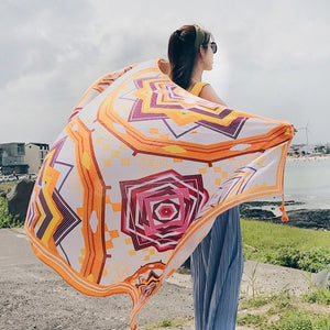 New Printing Tassel Long Scarf National Wind Fashion Comfortable Beautiful Scarf Prevent Bask Scarves For Women White