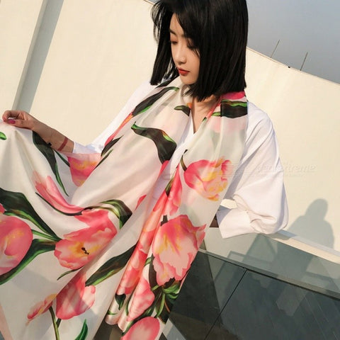 Fashion Print Summer Beach Blouse Sun Shawl Silk Style Scarf All-Match Lengthen Large Wrap Shawl For Women White