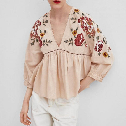 Women\'s Blouse Floral Embroidery Oversize Cotton Shirts Lantern Sleeve Boho Style Loose Tops Pink/S