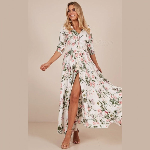 Bohemia Floral Print V-Neck Three-Quarter Sleeve Dress For Women High Waist High Slit Ankle-length Dress White/S