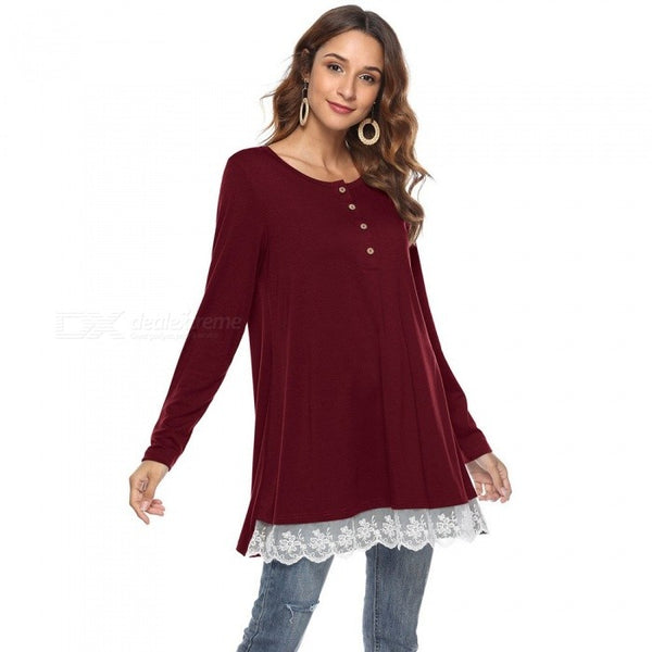 Autumn New O-Neck Long Sleeve T Shirts Solid Color Lace Knitted Button Loose Shirt For Women Black/S