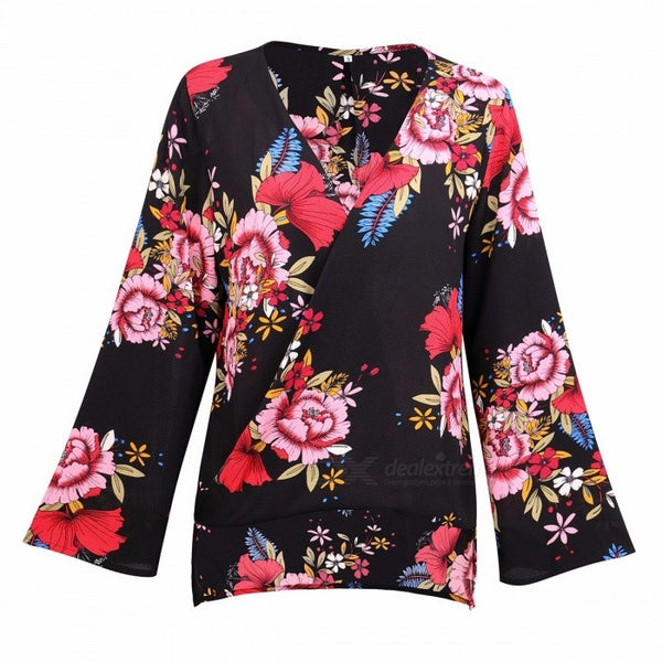 AM210 Autumn Sexy V Neck Long Sleeve Flower Print Chiffon Blouse Shirt Tops For Women Black/S