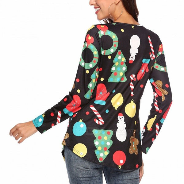 New Christmas T Shirt Long Sleeve V-Neck Snowman Print Slim Shirts For Women WQ063 Black/S