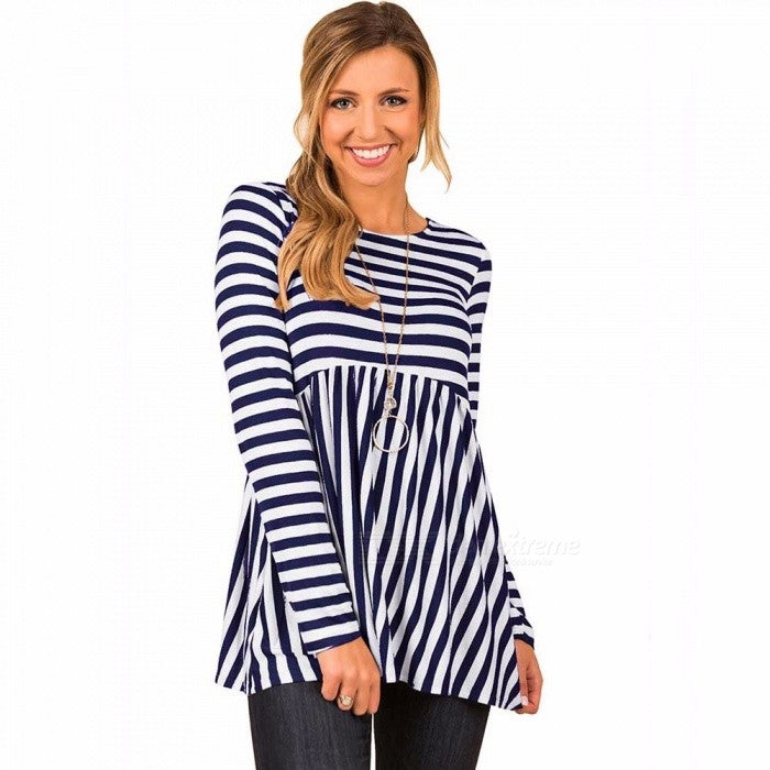 Europe And America New Women Top Striped Loose Long Sleeve T Shirts Caffee/S