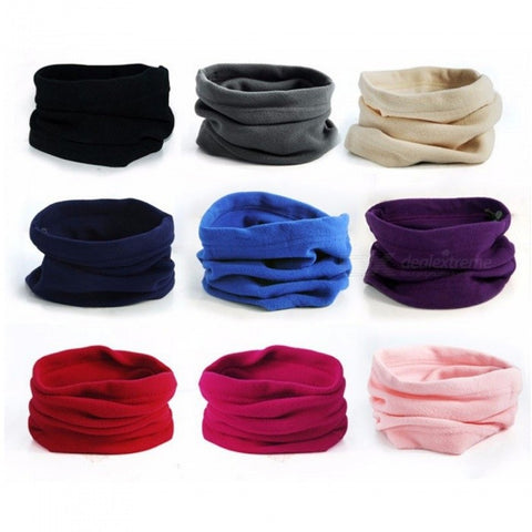Winter Outdoor Scarf Hat Warm Thick Coral Fleece Cotton Windproof Comfortable Camping Hiking Scarves One Size/Black