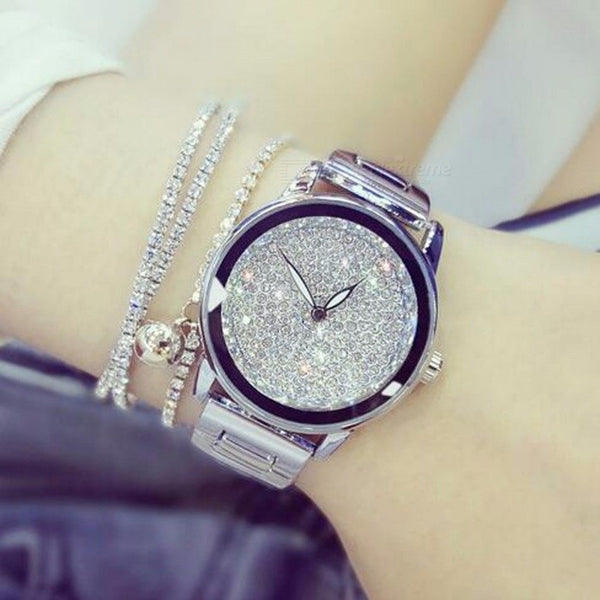 Luxury Austrian Crystal Rhinestone Round Dial Women Lady Dress Watch with Stainless Steel Band, Diamond Bracelet Wristwatch yellow gold