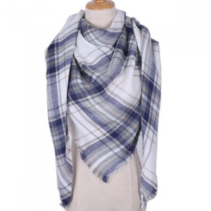 Winter Triangle Scarf for Women Brand Designer Shawl Cashmere Plaid Scarves Blanket Fashion Scarves