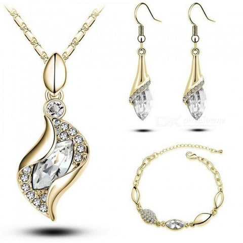 Elegant Luxury Design New Fashion Gold Filled Colorful Austrian Crystal Drop Jewelry Sets For Women Multi Colors Optional Dark Blue