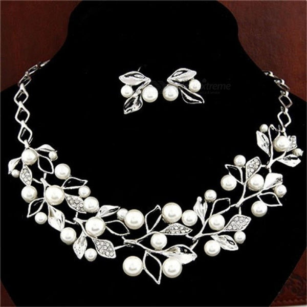 Elegant Simulated Pearl Bridal Jewelry Sets Gold Silver Plated Leaf Crystal Choker Necklaces Earrings Sets Wedding Jewelry F443