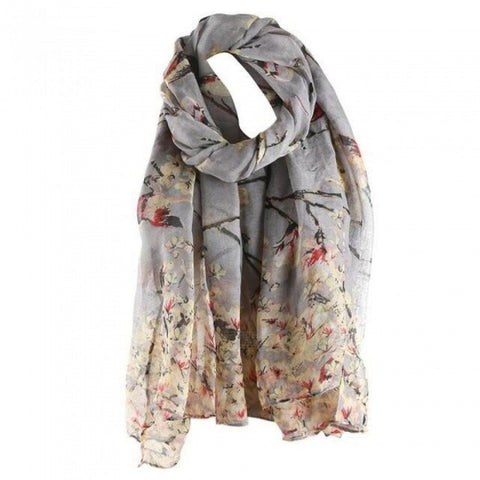 Cotton Floral Bird Printed Elegant Scarf Women Long Scarf Warm Wrap Shawl Female Fashion Design Charming One Size/Black