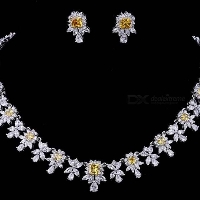 Women AAA Zircon Little Square Clear CZ Bridal Set for Luxury Wedding Choker Necklace Jewelry Sets Cubic Zirconia Copper white