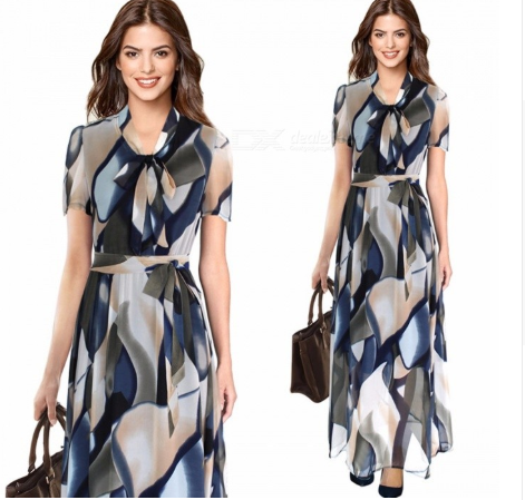 Europe And America Summer Maxi Dress Vintage Print O-Neck Chiffon Dresses With Sashes For Women