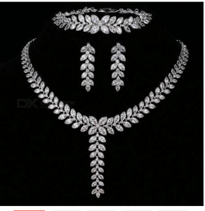 Elegant Leaf CZ Wedding Jewelry Sets for Bride Clear Crystal Necklace Earrings Sets Bridesmaid Jewelry Cubic Zirconia 42cm/White/bracelet 16cm set