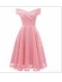 New Bridesmaid Dress Summer Slash Neck Off Shoulder Solid Color A-Line Dresses For Women