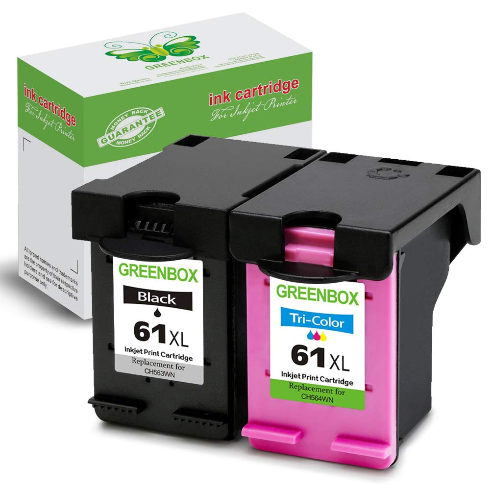 1000 1010 greenbox re-manufactured ink cartridge replacement for hp 61xl 61 xl used  in hp envy 4500 5530 5534 5535, deskjet 2540 1000 1010 1512 1510, officejet