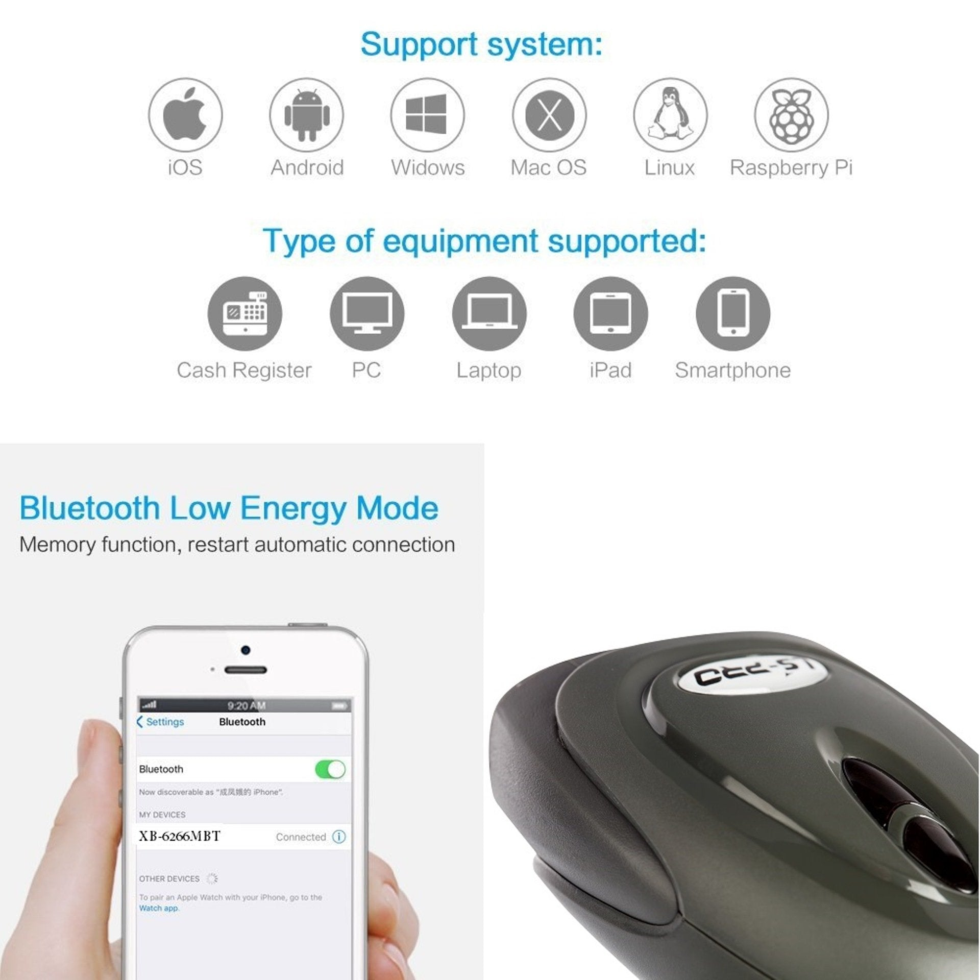 LS-PRO 2D QR wireless Bluetooth Barcode Scanner with USB