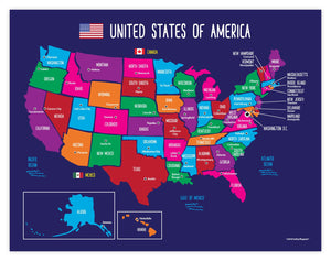USA Map with State Capitals Educational Classroom Poster ...