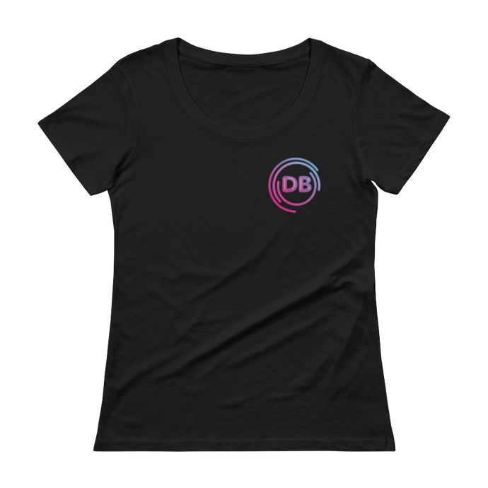 Ladies' Scoopneck DB Neon Logo T-Shirt