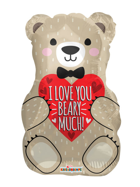I Love You Bear With Bow Foil Balloon 18""