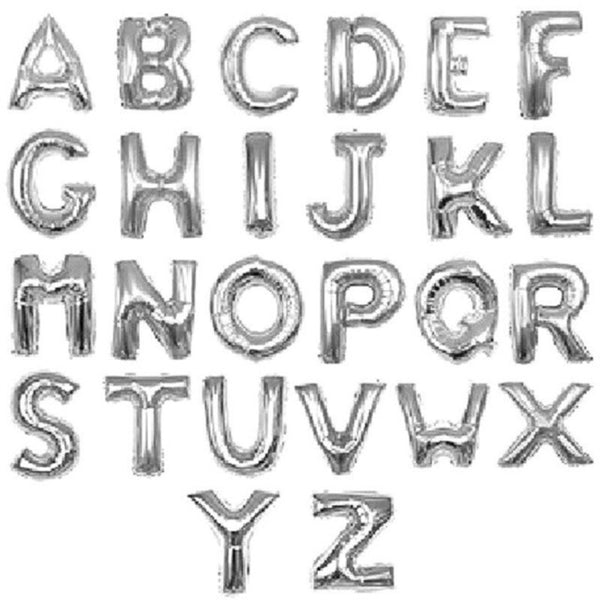 "Letters A to Z Silver Foil Balloon - 14"" in and 34"" in each. (Choose your size and your letter)"
