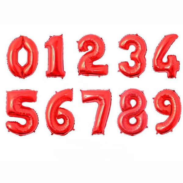 "Numbers 0 to 9 Red Foil Balloon 34"" in each (Choose your number)"